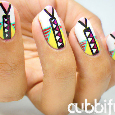 Multicolour Summer Tribal Nails nail art by Cubbiful