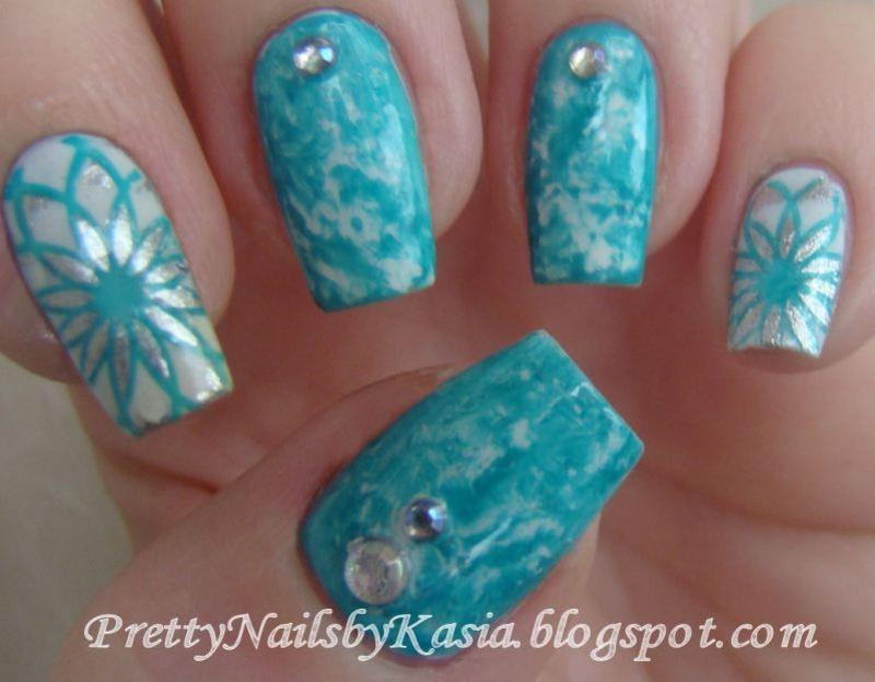 Winter saran wrap nail art by Pretty Nails by Kasia