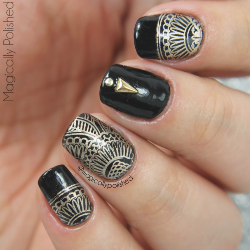 Black and Gold nail art by Ana