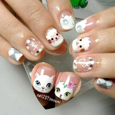 Cat and sheep nail art by Weiwei