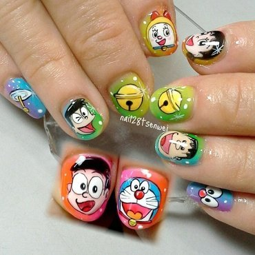 Doraemon nail art by Weiwei