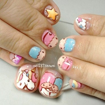 little twins star nail art by Weiwei