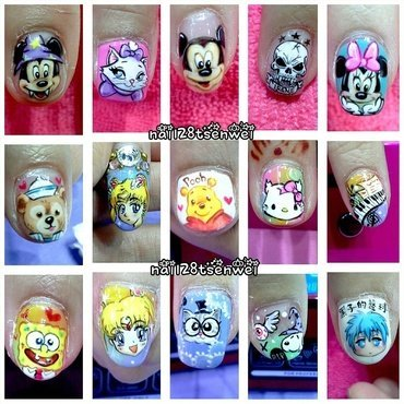 cartoon family nail art by Weiwei