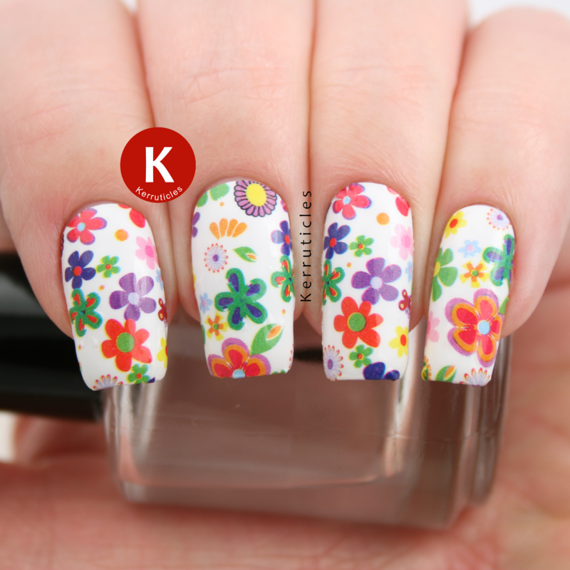 Floral nails (nail strips) nail art by Claire Kerr