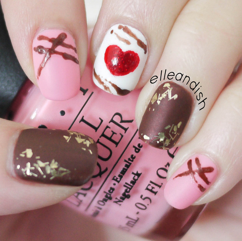 Chocolate Truffle Nails for Valentine's Day nail art by elleandish