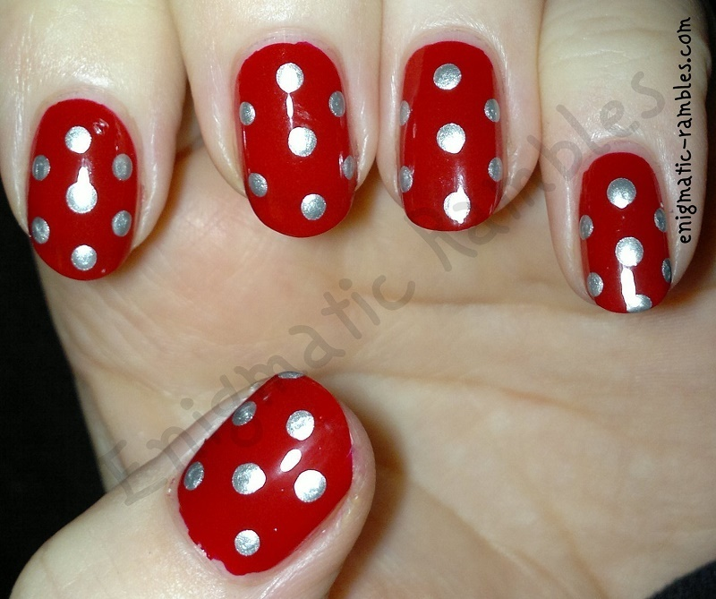Red and Silver Dotticure nail art by Enigmatic Rambles