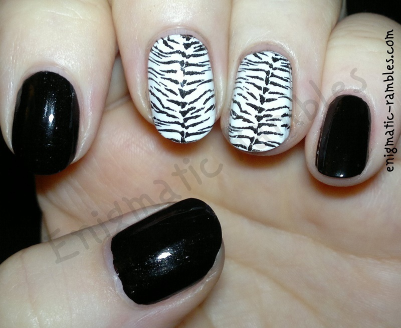 Zebra Nails nail art by Enigmatic Rambles