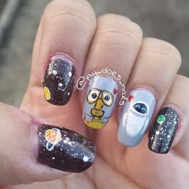 Wall-e & Eve  nail art by Jaya Kerai