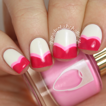 Valentine's Heart French Tips nail art by Kelli Dobrin
