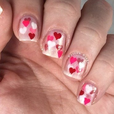 Jellied Hearts nail art by Crystal Bond