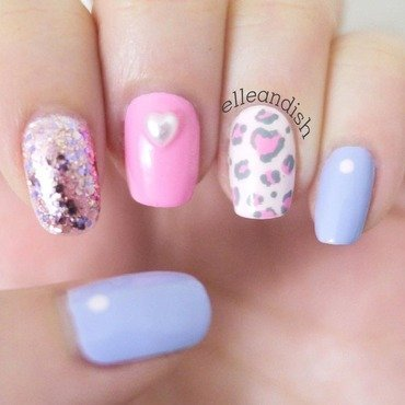 Soft Pink Leopard Nails - Valentine's Day nail art by elleandish