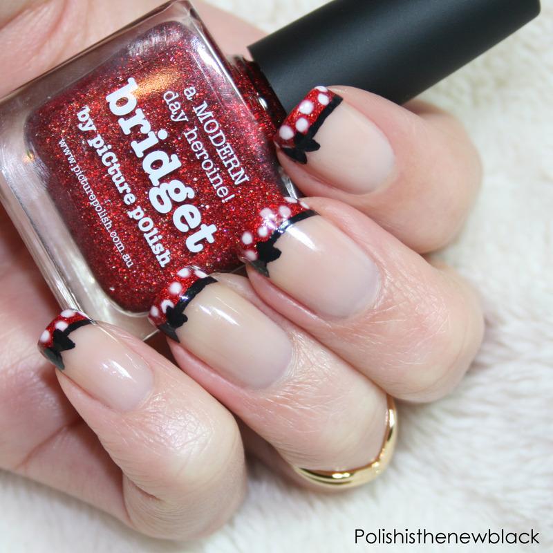 Minnie Mouse french tips nail art by Polishisthenewblack - Nailpolis ...
