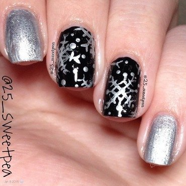 Black and Silver Snowflakes nail art by 25_sweetpea