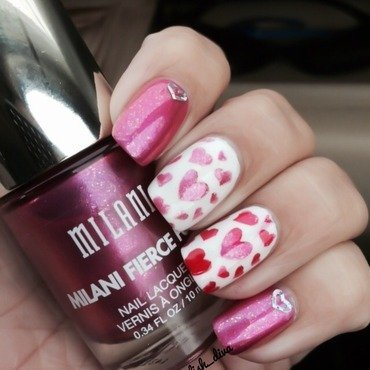 True Hearts ! nail art by Marilyn