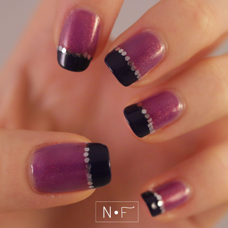 French manicure: glitter vs. holo nail art by NerdyFleurty
