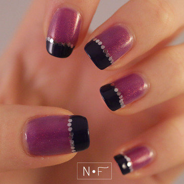 French manicure: glitter vs. holo nail art by NerdyFleurty