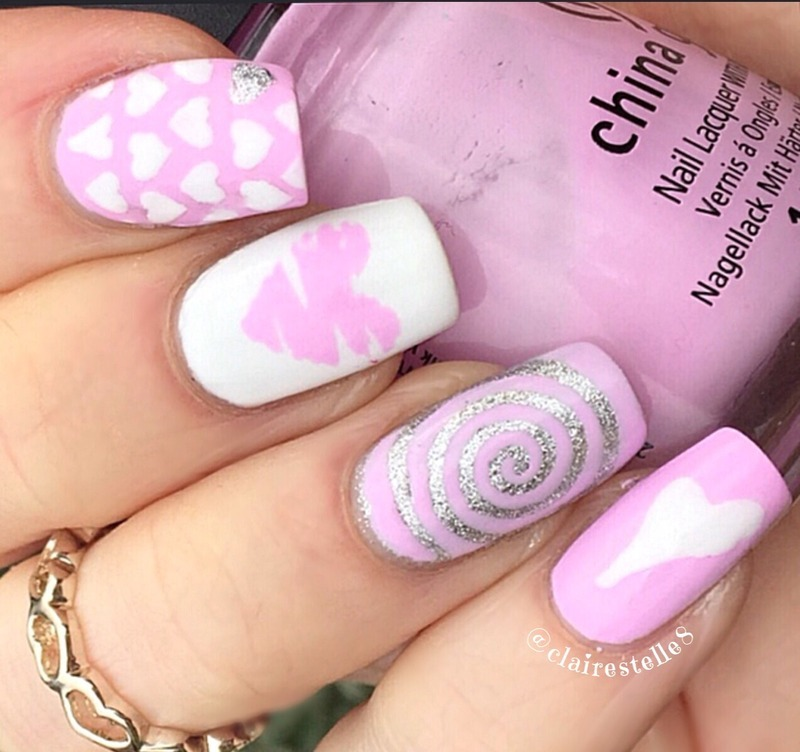 Valentine Hearts nail art by Claire O'Sullivan