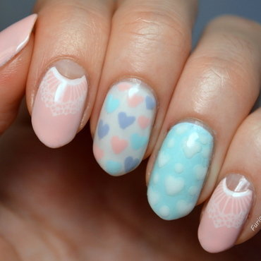 Vintage Valentine's nail art by Furious Filer