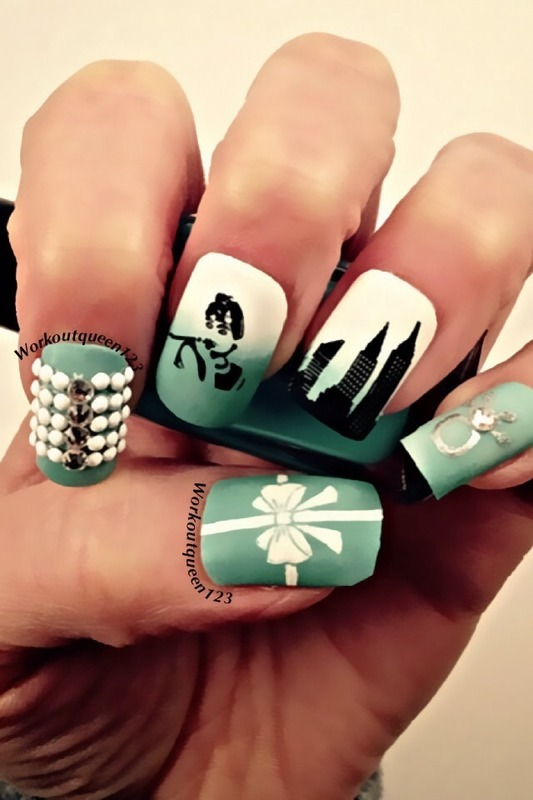 Breakfast at Tiffany's nail art by Workoutqueen123