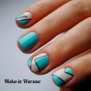 Geometry Mint&Cream nail art by Niska