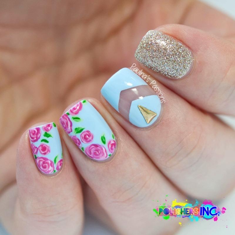 Pretty Blue Floral Triangle Stud Nails nail art by Born Pretty