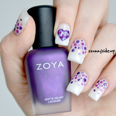 Dotted heart nail art by ssunnysideup (Sabrina)
