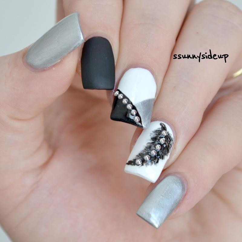 Elegant feather nails nail art by ssunnysideup (Sabrina)