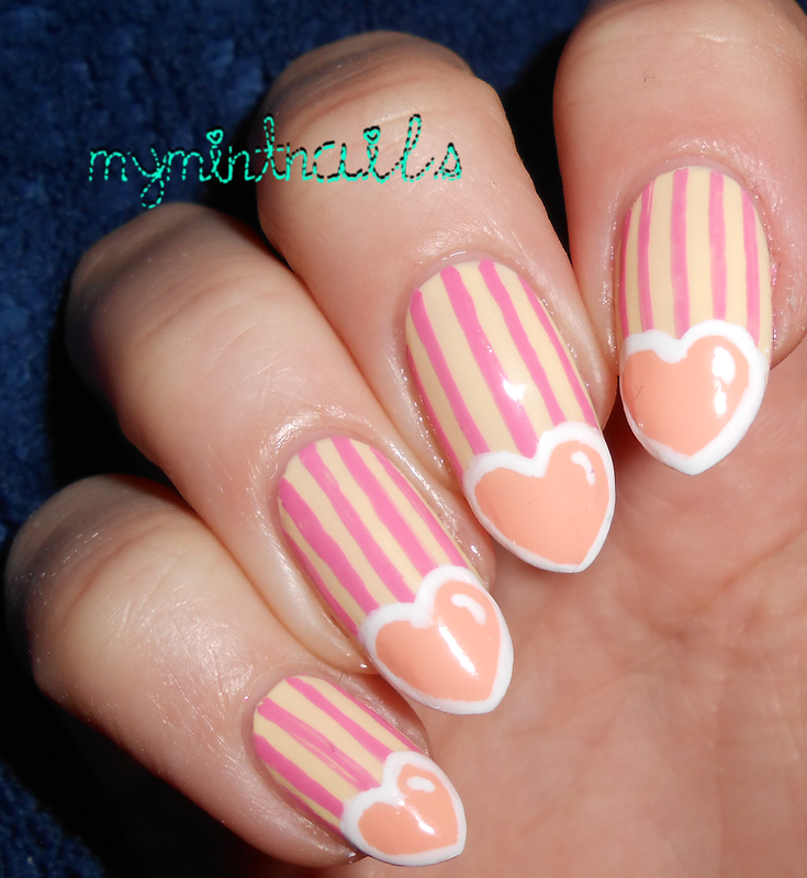 Striped + Heart Tips nail art by MyMintNails
