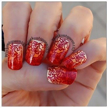 Fall gradient with leaves  nail art by Workoutqueen123