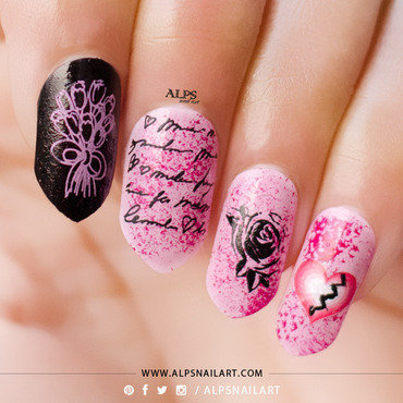 Anti Valentines day nails @alpsnailart nail art by Alpsnailart