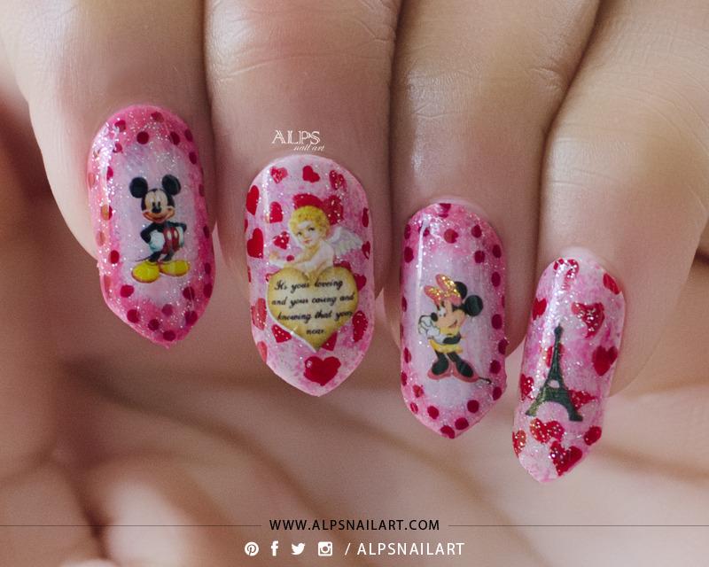 Disney Valentines Day nails tutorial by @alpsnailart nail art by Alpsnailart