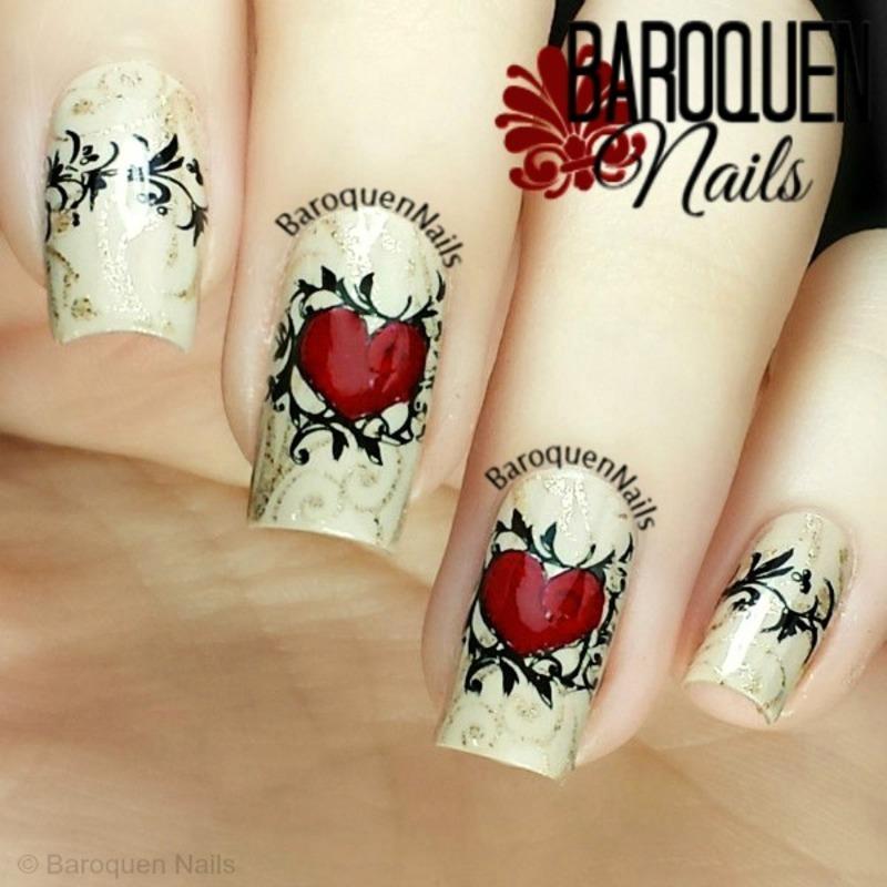 Two Hearts nail art by BaroquenNails