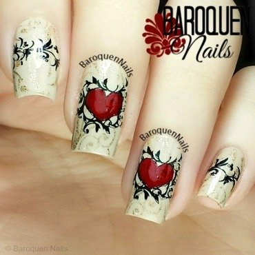 Two Hearts nail art by BaroquenNails