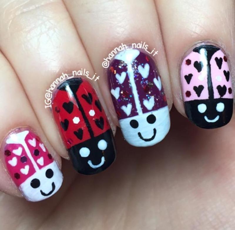 Lovebugs nail art by Hannah