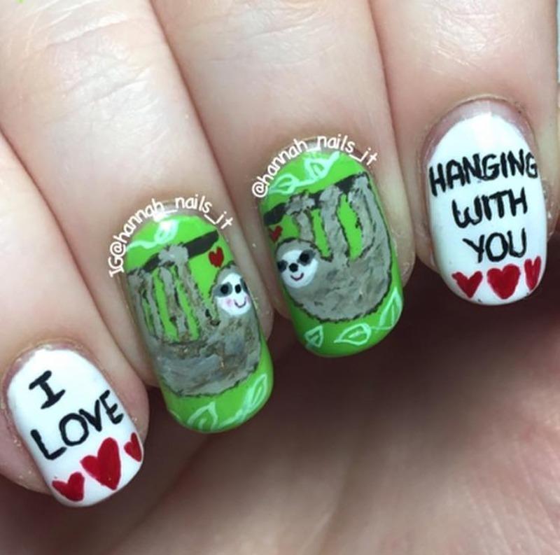 Sloth lovin' nail art by Hannah