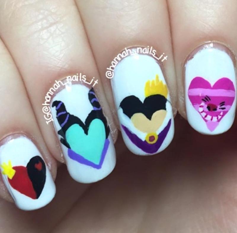 Happy Villaintines Day nail art by Hannah