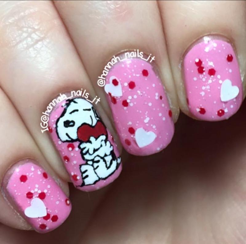 Snoopy Valentine nail art by Hannah