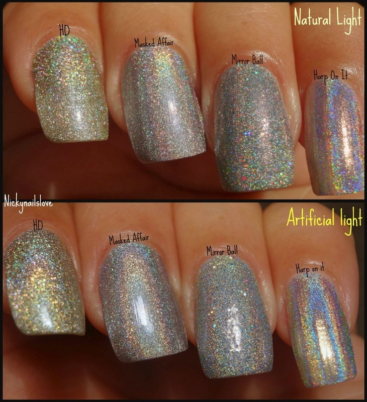 Color Club Harp on it, Milani HD, Orly Mirrorball, and Loreal masked affair Swatch by Nicky