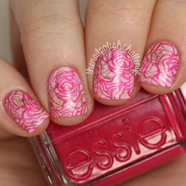 Double Stamped Pink Nail Art nail art by Kelli Dobrin