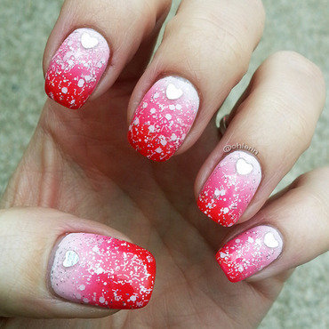 Valentine's Day gradient nail art by Lindsay