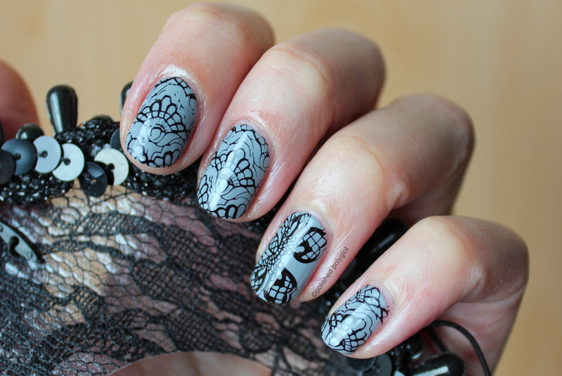 Lace on grey nail art by Polished Polyglot