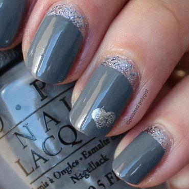 Grey and silver ruffian nail art by Polished Polyglot