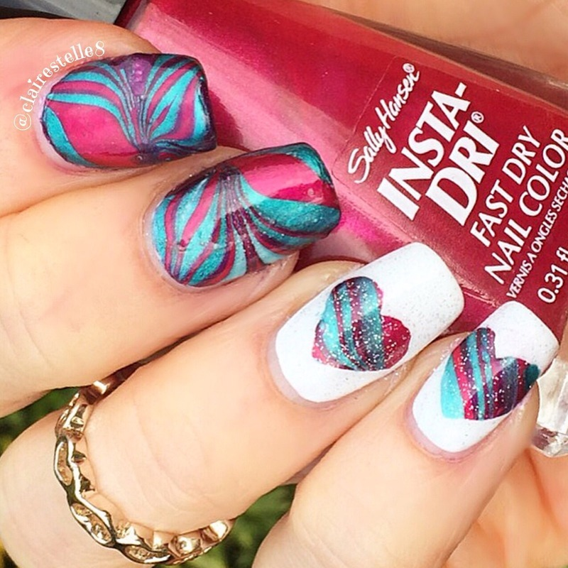 Valentine Watermarble nail art by Claire O'Sullivan