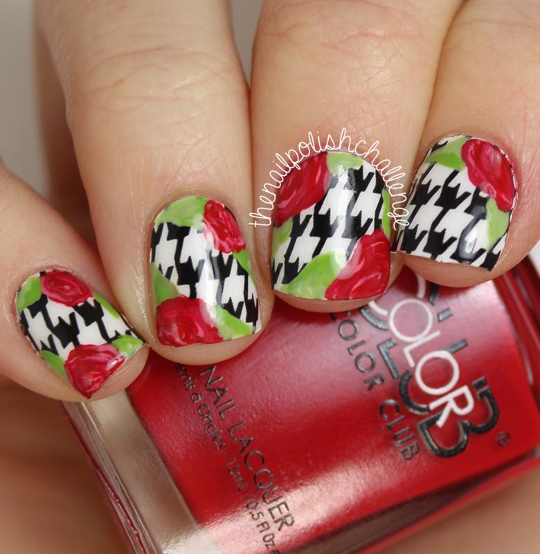 Floral Houndstooth Nail Art nail art by Kelli Dobrin