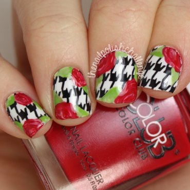 Floral Houndstooth Nail Art nail art by Kelli Dobrin