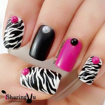 Zebra Print Nails nail art by SharingVu