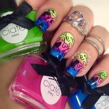 Rainbow Hearts nail art by Debbie