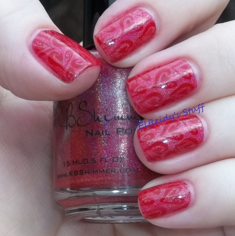 Red on red stamping nail art by Jenette Maitland-Tomblin