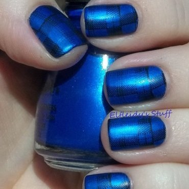 Royal blue plaid nail art by Jenette Maitland-Tomblin