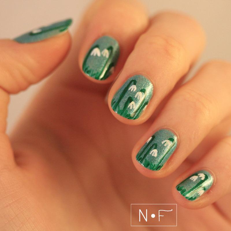 Drop it like a snowdrop! nail art by NerdyFleurty